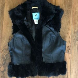 Marciano leather and rabbit fur vest